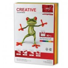 Бумага цветная CREATIVE color, А4, 80 г/м2, 250 л., (5 цветов х 50 л.), микс интенсив, БИpr-250r