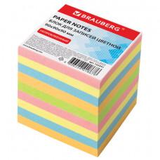 Блок для записей BRAUBERG непроклеенный, куб 9×9×9 см, цветной
