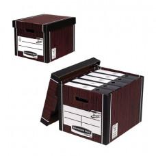 Короб архивный (285×385×325 мм), с крышкой, гофрокартон, FELLOWES (BANKERS BOX) «Woodgrain», FS-00610