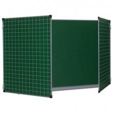 Доска для мела магнитная 3-х элементная (100×150/300 см), ДОПОЛНИТЕЛЬНАЯ ЛИНИЯ/КЛЕТКА, зеленая, BRAUBERG, 236972
