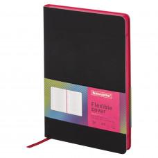 Ежедневник недатированный А5 (138×213 мм) BRAUBERG «Flex», кожзам, 136 л., черный