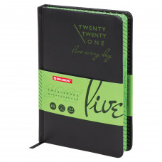 Ежедневник датированный 2021 А5 (138×213 мм) BRAUBERG «Chameleon», кожзам, черный/зеленый