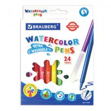 Фломастеры BRAUBERG «PREMIUM», 24 цвета, УЛЬТРАСМЫВАЕМЫЕ, классические, вентилируемый колпачок, картонная коробка с европодвесом