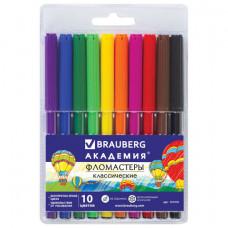 Фломастеры BRAUBERG «АКАДЕМИЯ», 10 цветов, вентилируемый колпачок, ПВХ упаковка