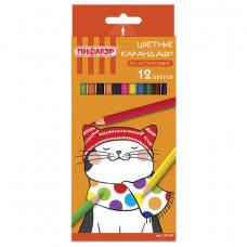 Карандаши цветные ПИФАГОР «КОТИК», 12 цветов, пластиковые, классические заточенные