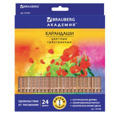 Карандаши цветные BRAUBERG «ЦВЕТЫ», 24 цвета, трехгранные заточенные, лакированное дерево
