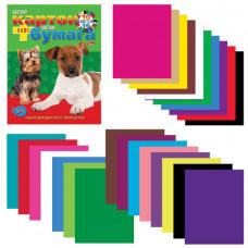 Набор цветного картона и бумаги А4 немелованные, 16 + 10 цветов склейка HATBER VK, 195×275 мм, Щенки