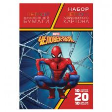 Набор цветного картона и бумаги А4 мелованный, 10+10 листов, в папке, HATBER,194×280 мм, «Человек-паук»