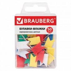 Булавки-флажки маркировочные BRAUBERG, цветные, 50 шт., пластиковая коробка, европодвес