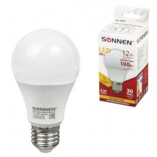 Лампа светодиодная SONNEN, 12 (100) Вт, цоколь Е27, груша, теплый белый свет, 30000 ч, LED A60-12W-2700-E27