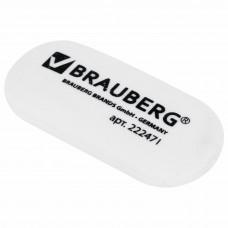 Ластик BRAUBERG, 55×23×10 мм, белый, овальный