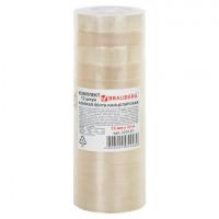 Клейкие ленты 12 мм х 33 м канцелярские BRAUBERG, комплект 12 шт., прозр., гарант. длина