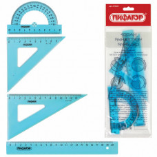 Набор чертежный средний ПИФАГОР (линейка 20 см, 2 треугольника, транспортир), тонированный, европодвес
