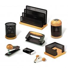 Набор настольный GALANT «Wood&Metal», 8 предметов, светлое дерево и черный металл