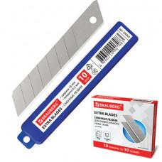 Лезвия для ножей 18 мм BRAUBERG, КОМПЛЕКТ 10 шт., толщина лезвия 0,5 мм, в пластиковом пенале