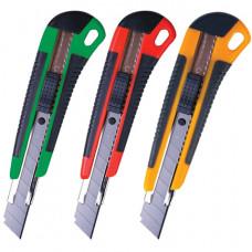Нож канцелярский 18 мм BRAUBERG «Universal», 3 лезвия в комплекте, автофиксатор, резиновые вставки