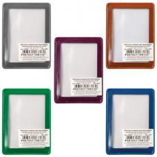 Обложка-карман для проездных документов, карт, пропусков, 92×69 мм, прозрачная, ПВХ, в цветной рамке, ассорти, ДПС
