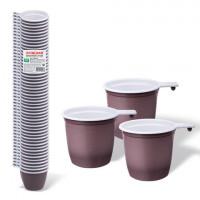 Одноразовые чашки для чая и кофе 200 мл, КОМПЛЕКТ 50 шт., пластиковые, «БЮДЖЕТ», бело-коричневые, ПП, ЛАЙМА