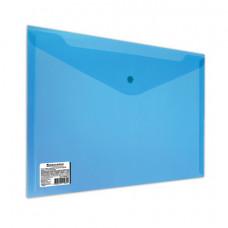 Папка-конверт с кнопкой BRAUBERG, А4, до 100 листов, прозрачная, синяя, СВЕРХПРОЧНАЯ 0,18 мм