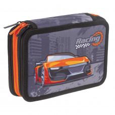 Пенал без наполнения BRAUBERG, 3 отделения, ткань, 20,5×14 см, «Racing»