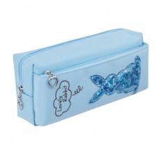 Пенал-косметичка ЮНЛАНДИЯ, 2 отделения, мягкий, «Зайка», голубой, 20×7×9 см