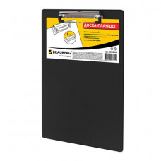Доска-планшет BRAUBERG «NUMBER ONE» с прижимом А4 (228×318 мм), картон/ПВХ, ЧЕРНАЯ