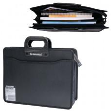 Папка-портфель пластиковая BRAUBERG А4+ (390×320×120 мм), 4 отделения, фактура под дерево, черная