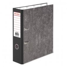 Папка-регистратор BRAUBERG, фактура стандарт, с мраморным покрытием, 75 мм, черный корешок