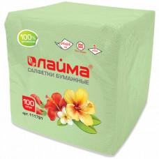 Салфетки бумажные 100 шт., 24×24 см, ЛАЙМА, зеленые (пастель), 100% целлюлоза