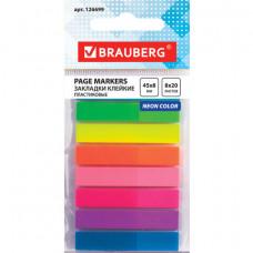 Закладки клейкие BRAUBERG НЕОНОВЫЕ, пластиковые, 45×8 мм, 8 цветов х 20 листов, в пластиковой книжке