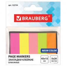 Закладки клейкие BRAUBERG НЕОНОВЫЕ бумажные, 45×15 мм, 5 цветов х 20 листов, в картонной книжке