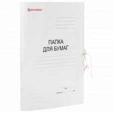Папка для бумаг с завязками картонная мелованная BRAUBERG, гарантированная плотность 320 г/м2, до 200 листов