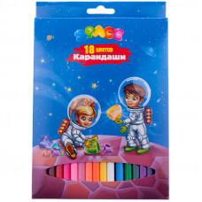"Карандаши 18цв. ""Космонавты"" заточен., картон. уп., европодвес"