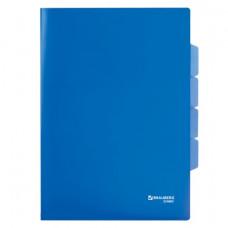 Папка-уголок А4 150мкм, 3 отделения, синяя BRAUBERG