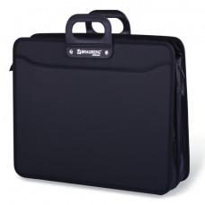 Портфель пластиковый 3 отдел на молнии , черный , А3, 470х380х130 мм ,BRAUBERG