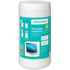 Салфетки д/экранов и пластика, универсальные,  OfficeClean, 13х16 см, туба 100 шт., влажные
