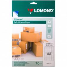 Бумага самоклеящаяся А4 50л. Lomond 65 фр.(38*21,2), 70г/м2