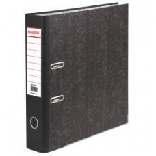 Папка-регистратор 70 мм BRAUBERG, мраморное покрытие, А4 +, черный  корешок
