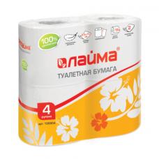 Туалетная бумага 2-х сл. 4шт/уп белая ЛАЙМА