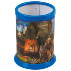 """Подставка-стакан для канцелярских принадлежностей BRAUBERG, 3D-эффект, """"Дикие животные"""""""