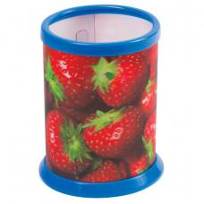 """Подставка-стакан для канцелярских принадлежностей BRAUBERG, 3D-эффект, """"Клубнички"""""""