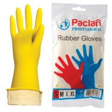 """Перчатки  р S хоз. резиновые PACLAN """"Professional"""", с х/б напылением, размер  (малый), желтые"""