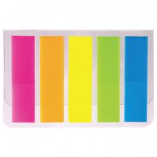Закладки клейкие STAFF, НЕОНОВЫЕ, 45х12 мм, 5 цветов х 20 листов, на пластиковом основании