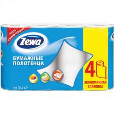 Полотенца бум. ZEWA спайка 4 шт., 2-х слойные белые