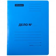 Скоросшиватель Дело 300г/м2 картон мелованный OfficeSpace синий, пробитый, до 200л.
