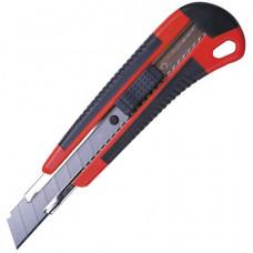 Нож 18 мм универсальный  BRAUBERG, автофиксатор, резиновые вставки, + 2 лезвия, блистер
