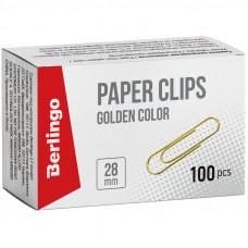 Скрепки 28 мм 100шт/уп золотистые Berlingo