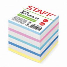 Блок для записей 90х90х90 мм цветной непроклеенный STAFF чередование с белым,