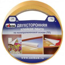 Клейкая лента двухсторонняя 25мм*10м полипропилен UNIBOB
