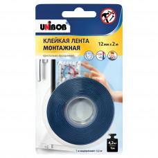 Клейкая лента монтажная 12*2м Unibob кристально-прозрачная